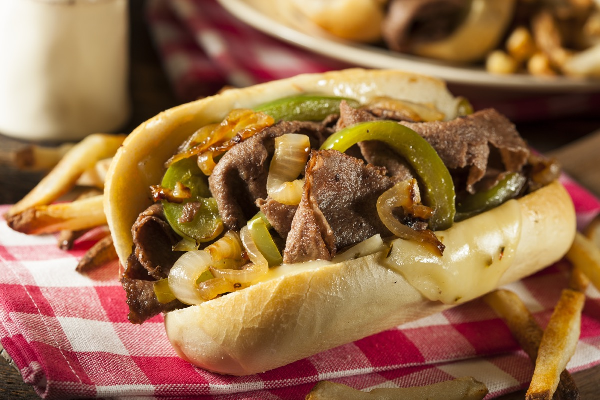 philly cheese steak, sandwich, onions and peppers