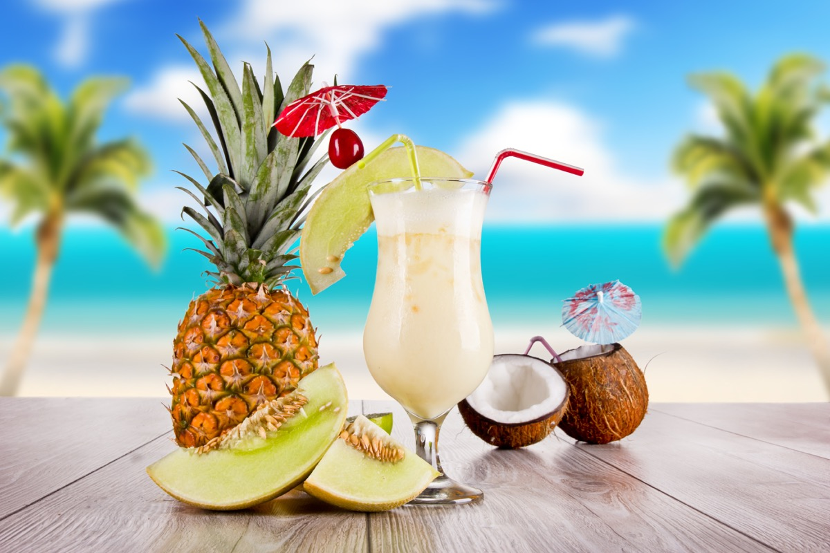 pina colada with pineapple and coconut, near beach