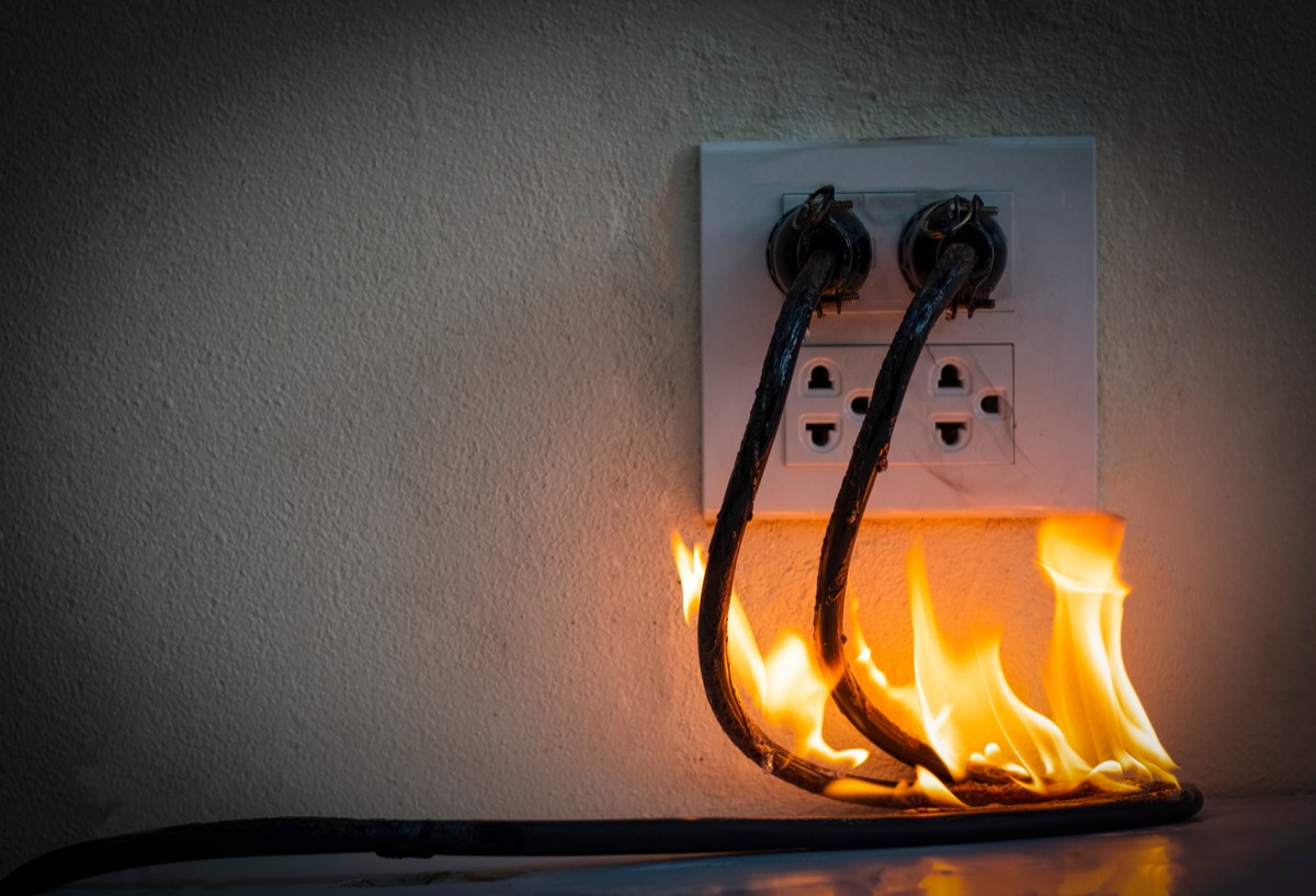power cord on fire