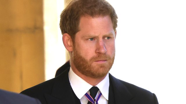 Prince Harry, Duke of Sussex during the funeral of Prince Philip, Duke of Edinburgh at Windsor Castle on April 17, 2021 in Windsor, England.
