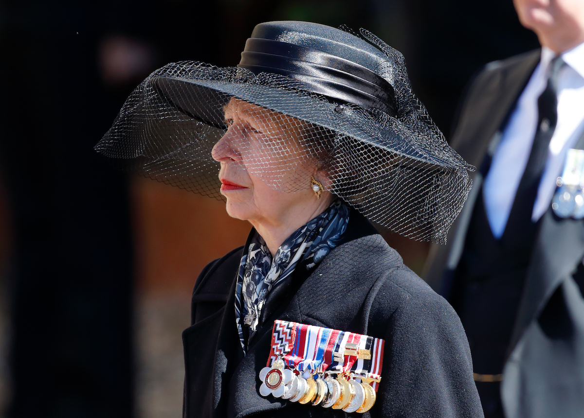 Princess Anne, Princess Royal attends the funeral of Prince Philip, Duke of Edinburgh at St. George's Chapel, Windsor Castle on April 17, 2021 in Windsor, England