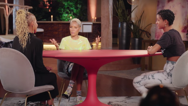 """Adrienne Banfield-Norris, Jada Pinkett Smith, and Willow Smith on """"Red Table Talk"""" in March 2021"""