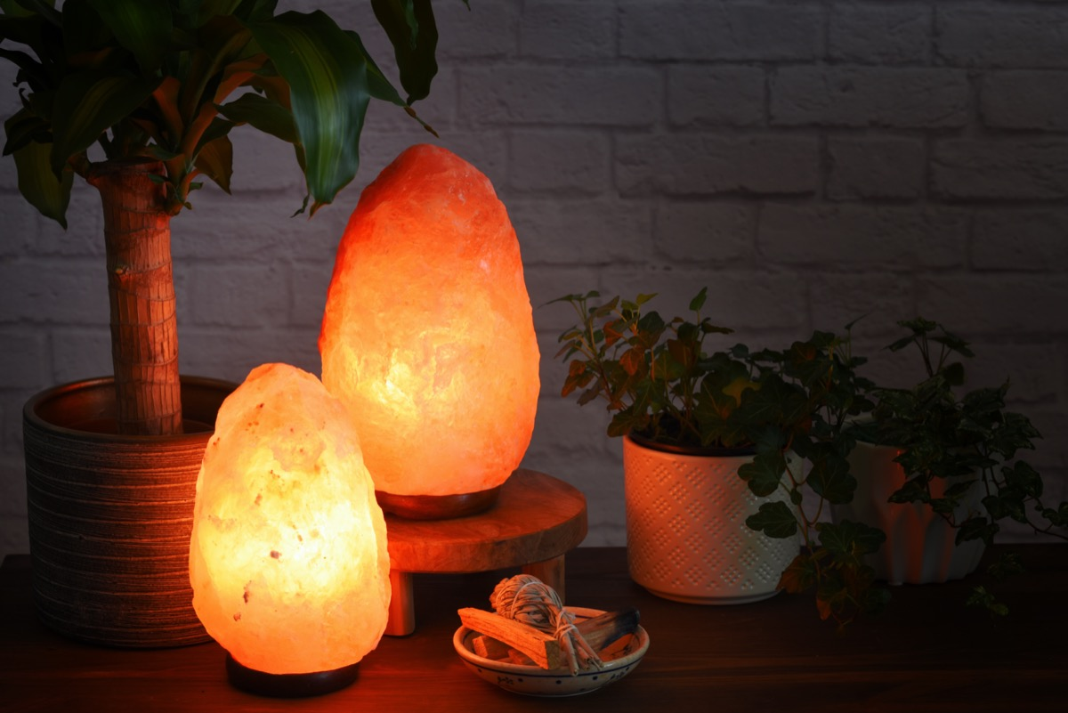 Himalayan Salt lamp on a counter