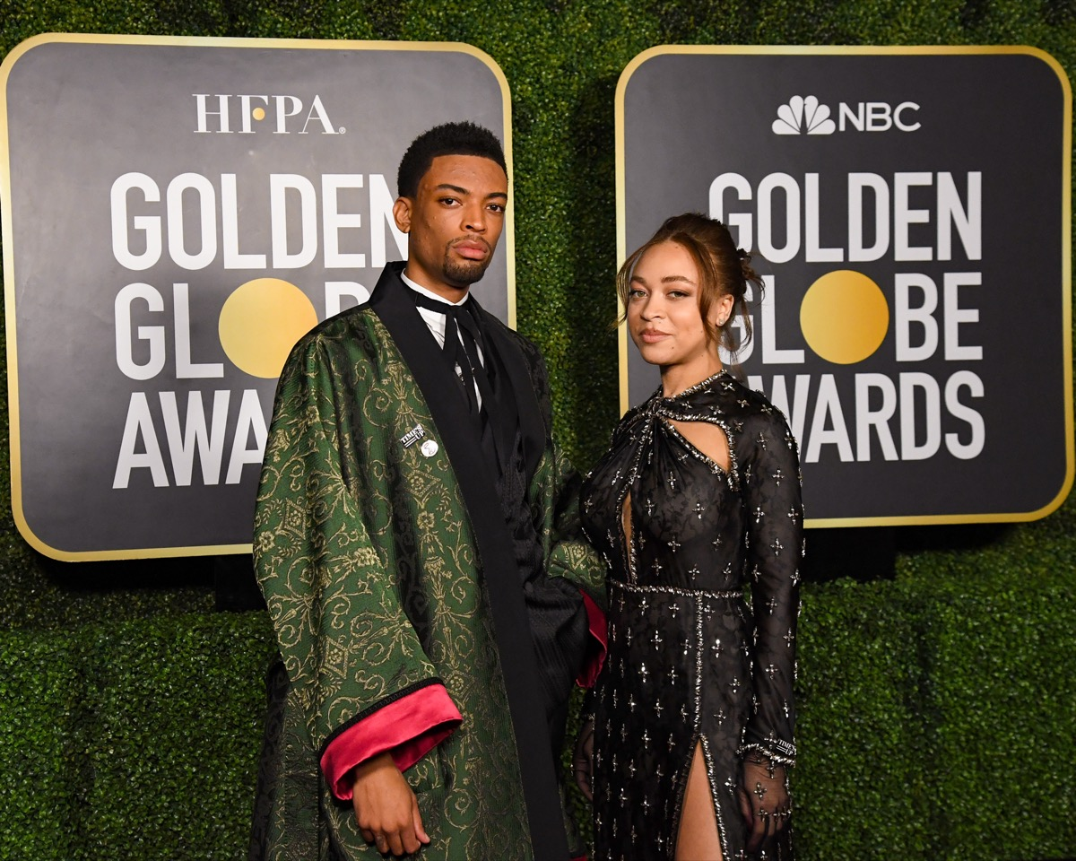 Satchel and Jackson Lee at the Golden Globes 2021