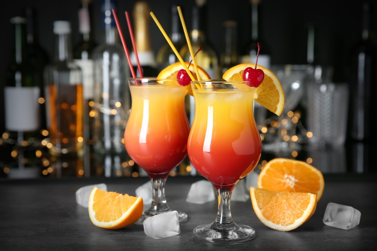 sex on the beach cocktail, cheery and orange garnish