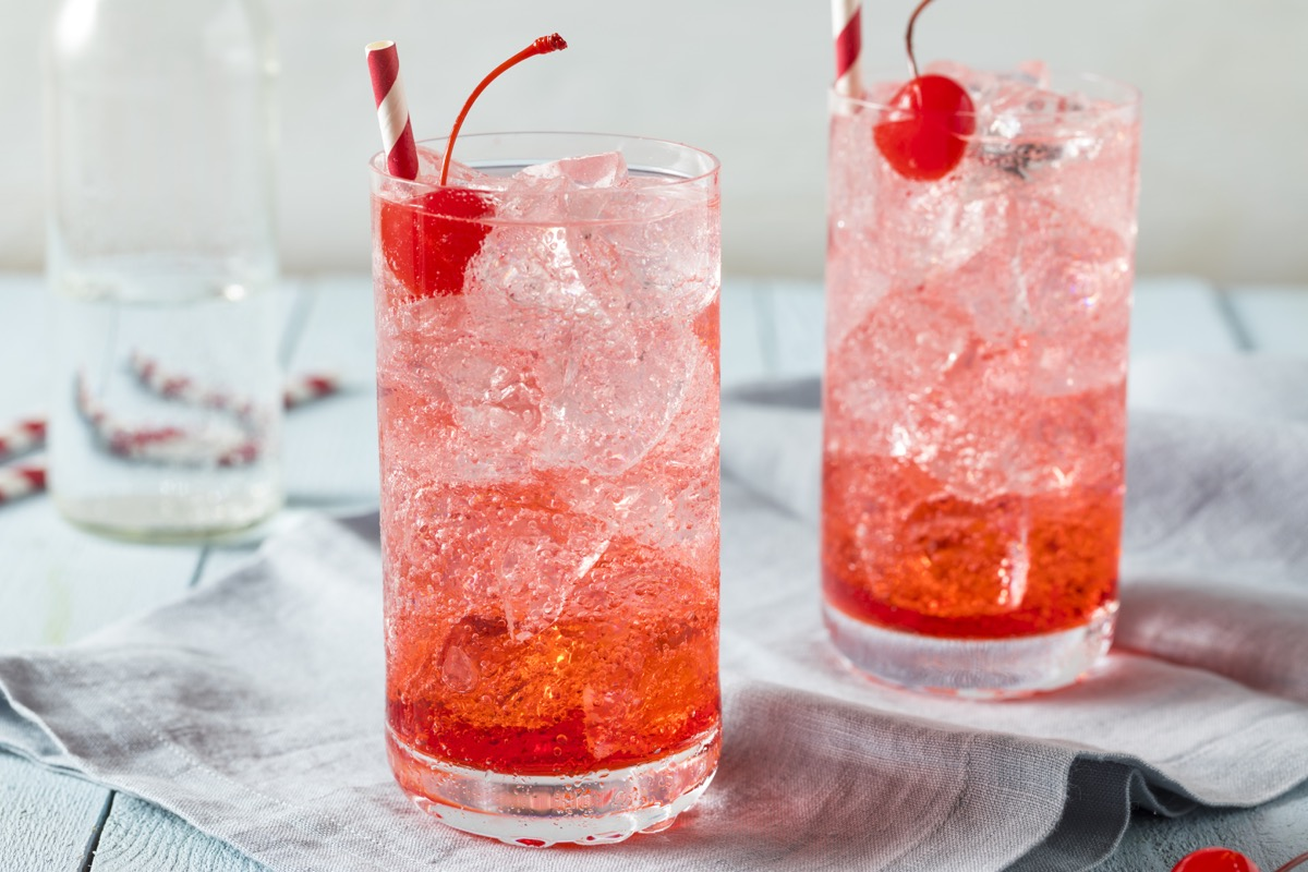 shirley temple with cherry and ice