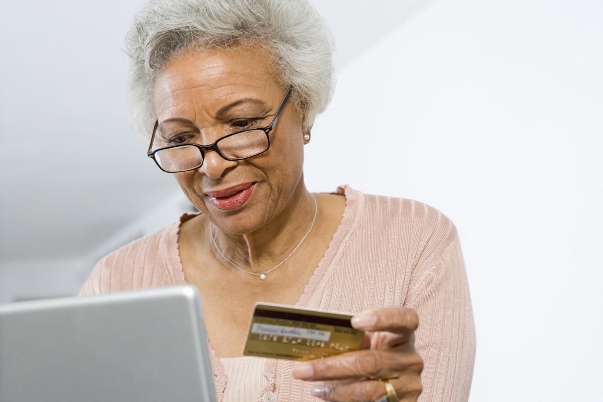 Older woman online shopping