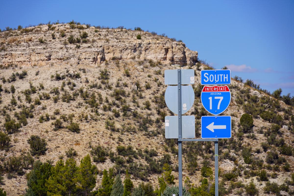 I-17 road sign in Arizona