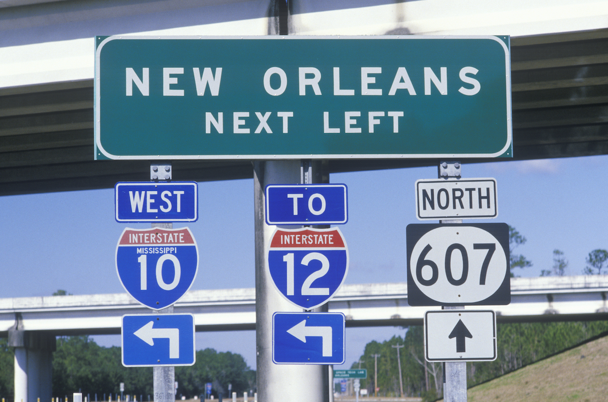 I-12 road sign in New Orleans