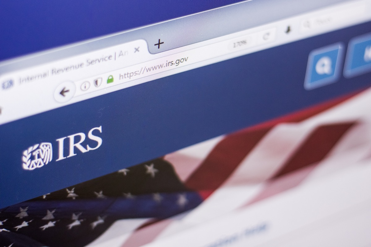 IRS website, american flag background