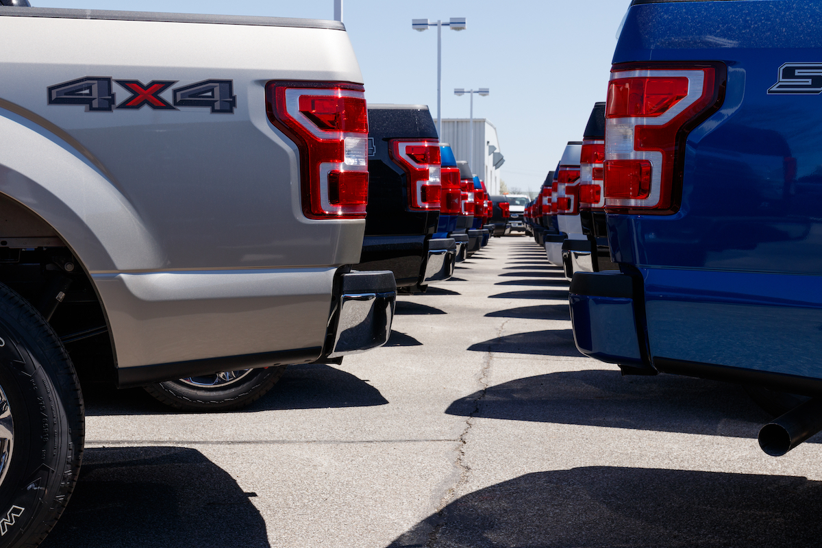Ford trucks at dealership