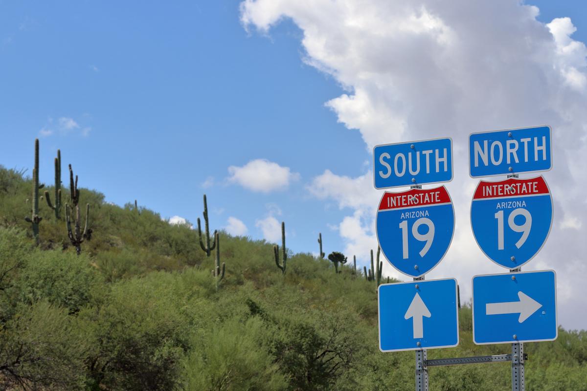 I-19 road sign in Arizona