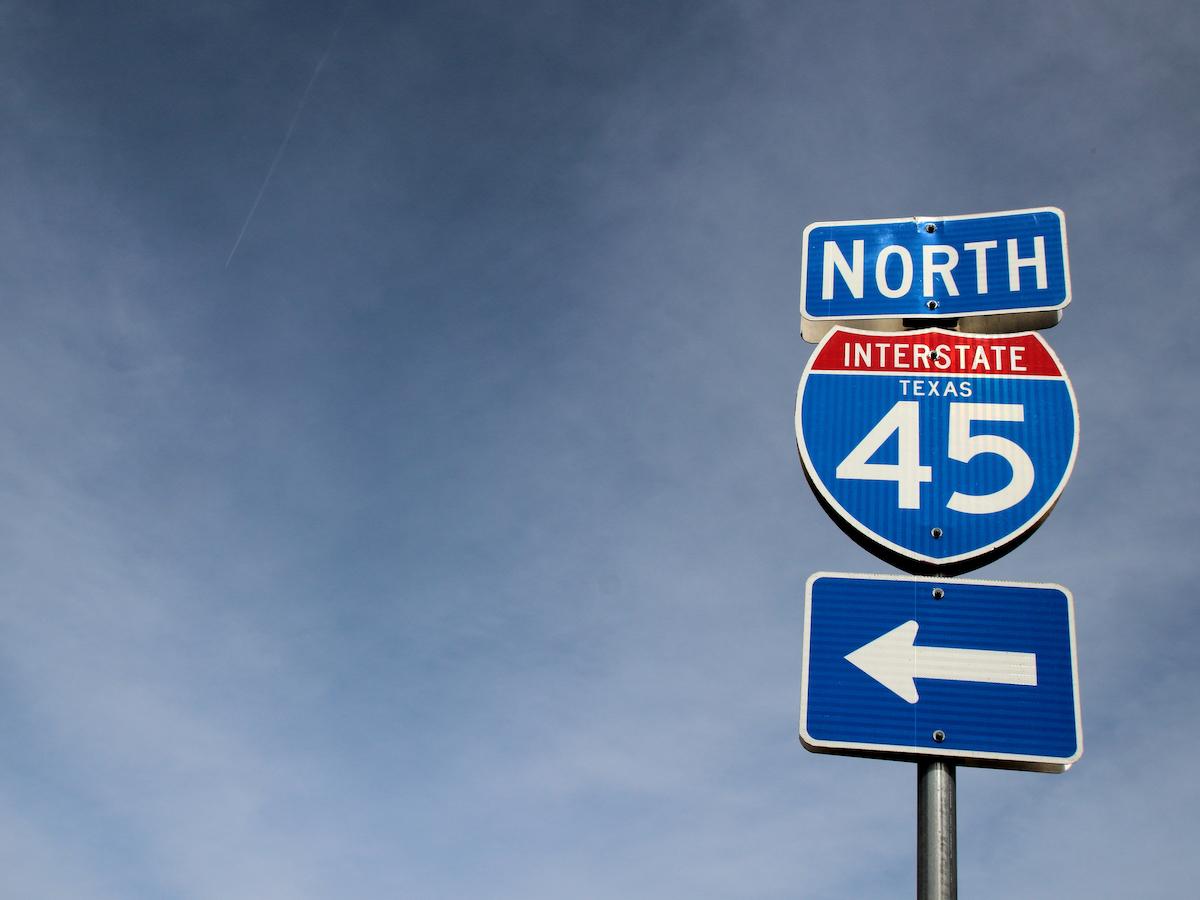 I-45 road sign