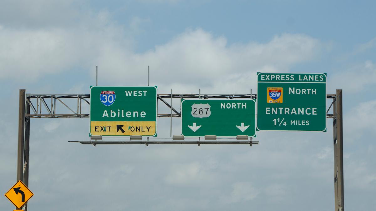 I-30 road sign to Abilene