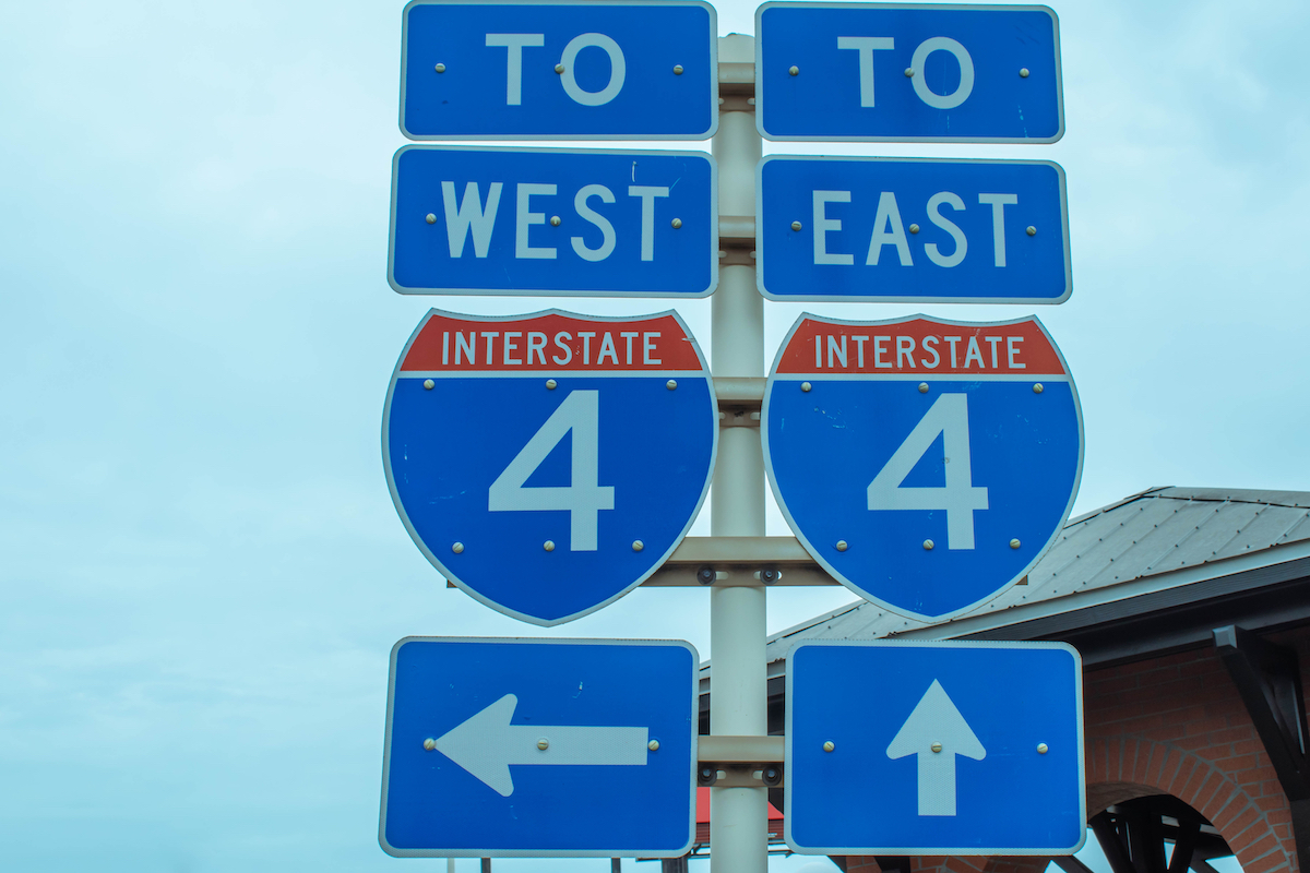I-4 road sign in Florida