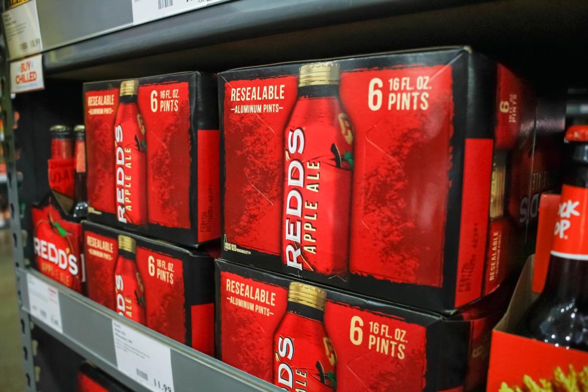 Box of redd's apple ale beer
