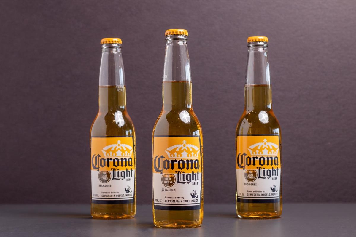 three bottles of corona light beer