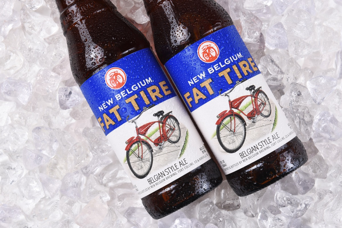 fat tire beer bottle on ice