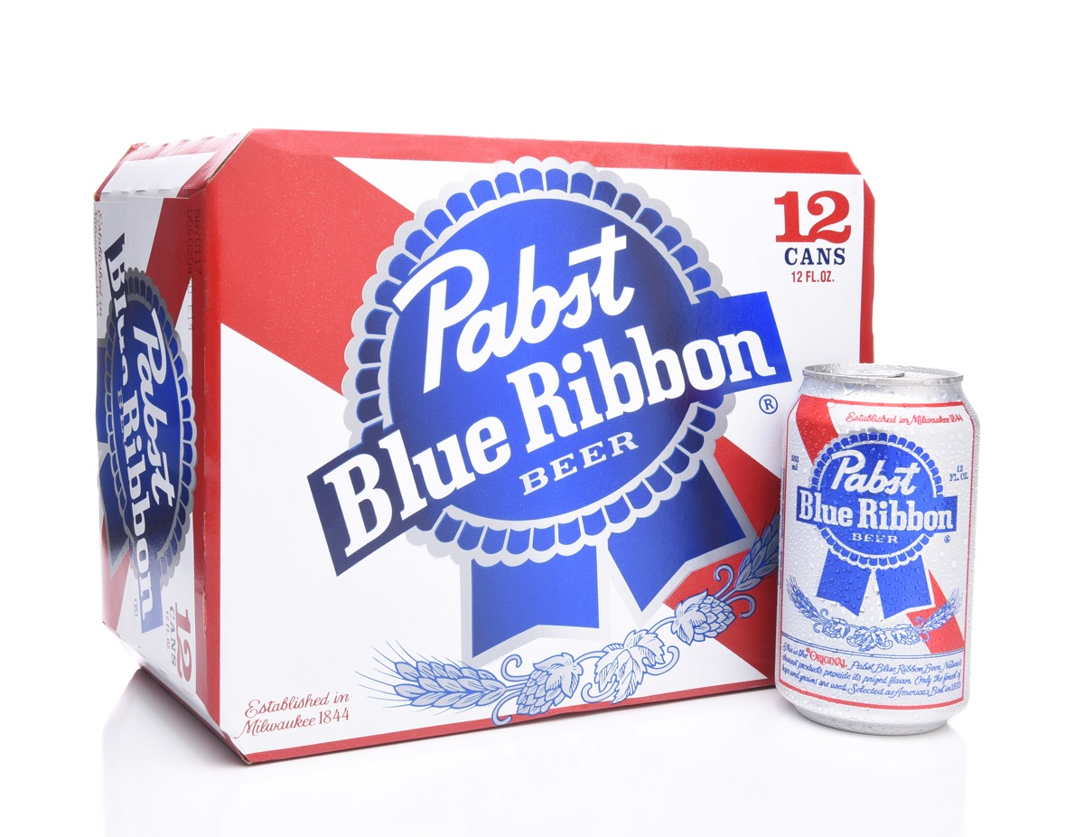 pack of pabst blue ribbon beer