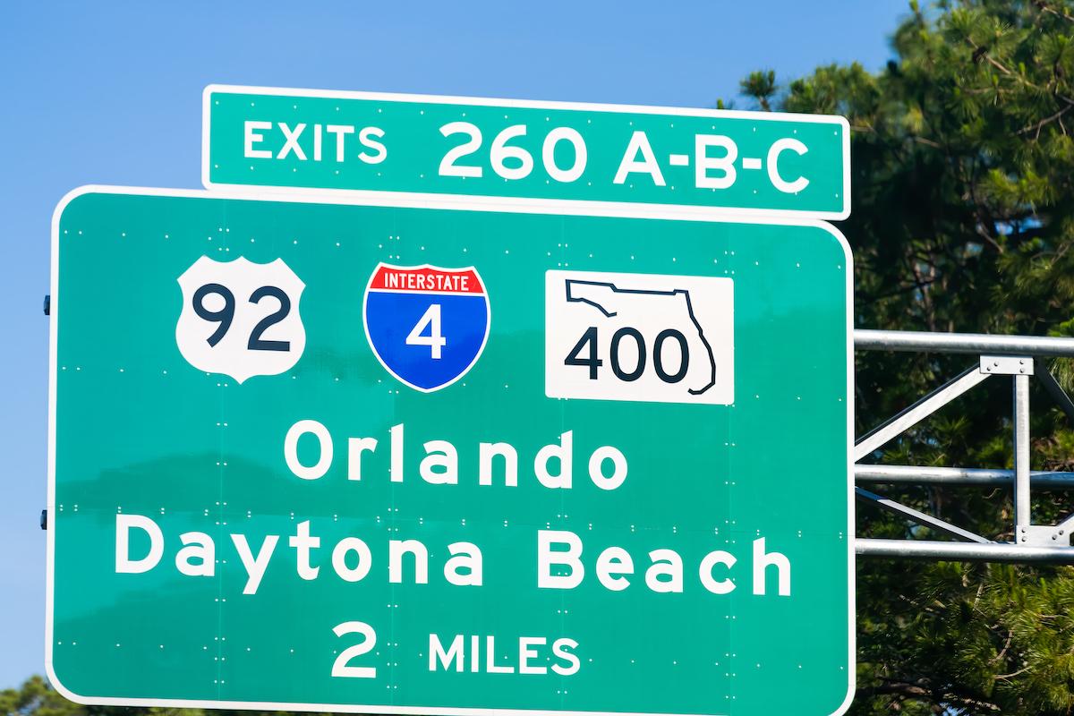 U.S. 92 road sign to Orlando and Daytona Beach