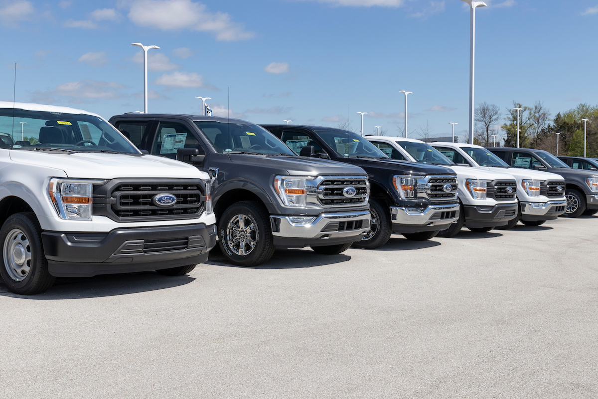 Ford F-150s at dealership