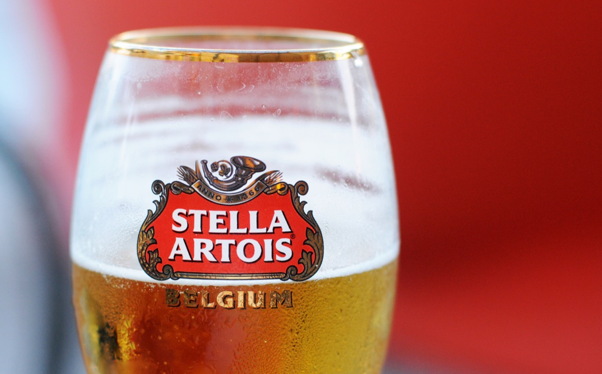 glass of stella artois beer