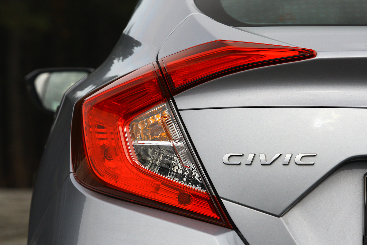 Back of a silver Honda Civic
