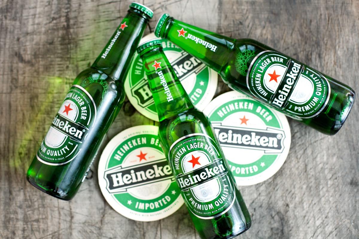 glass bottles of heineken beer
