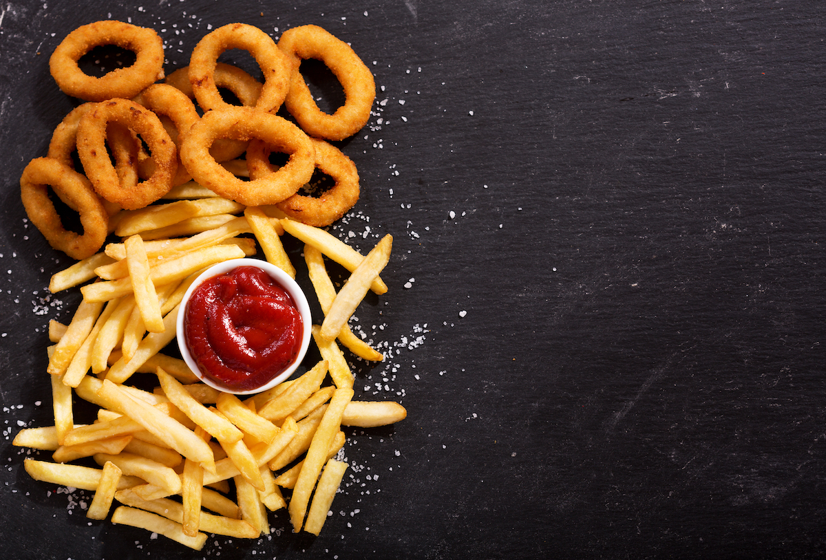 Ketchup, fries, and onion rings