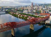 An aerial view of downtown Portland, Oregon