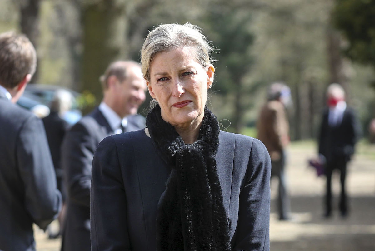 Sophie, Countess of Wessex attends Sunday Service at the Royal Chapel of All Saints, Windsor, following the announcement on Friday April 9th of the death of Prince Philip, Duke of Edinburgh, at the age of 99, on April 11, 2021 in Windsor, England.