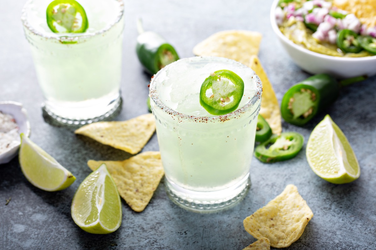 spicy margarita with jalapeno and chips