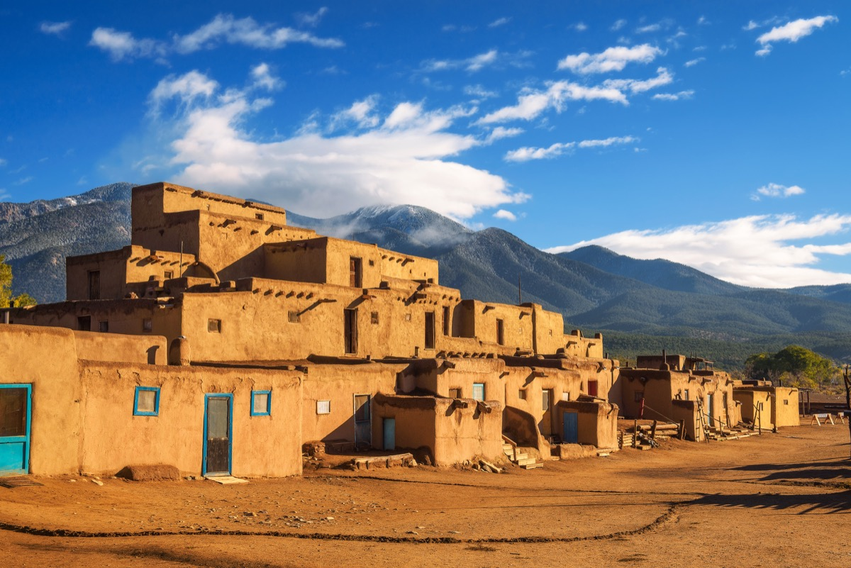 ancient dwellings of UNESCO World Heritage Site, Taos Pueblo in New Mexico