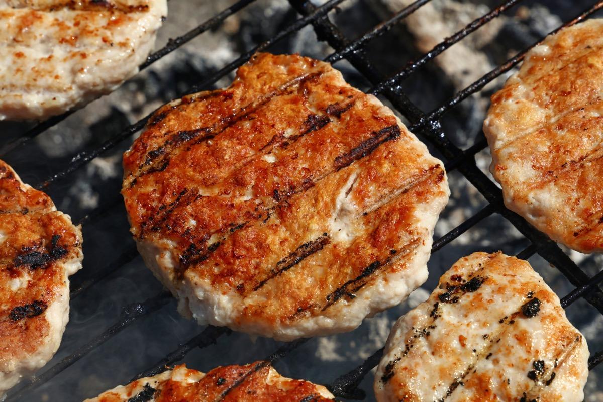 turkey burgers being grilled