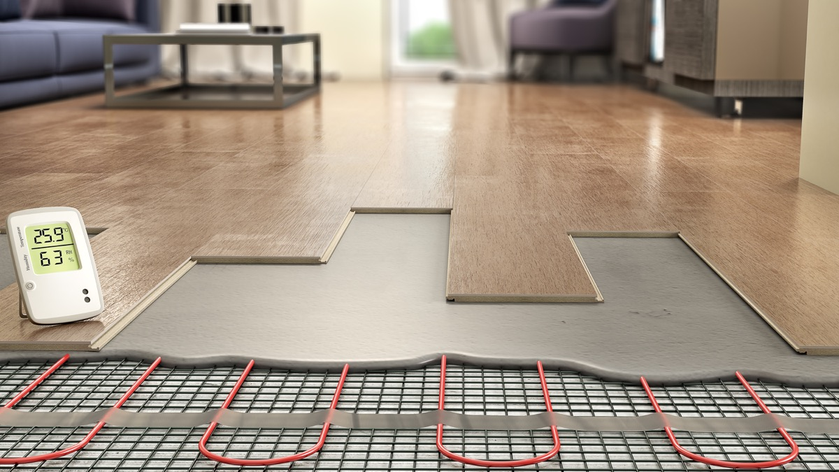 laminated, heated floor tiles in home