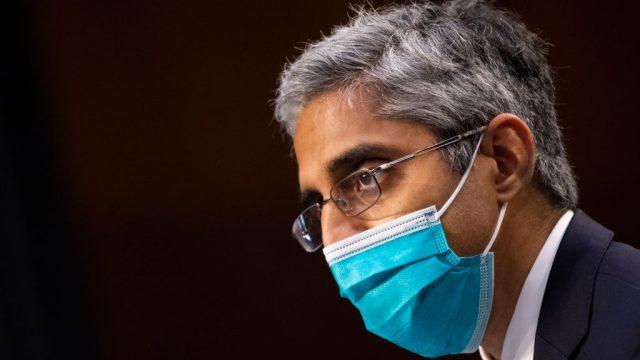 U.S. Surgeon General Vivek Murthy wearing a face mask