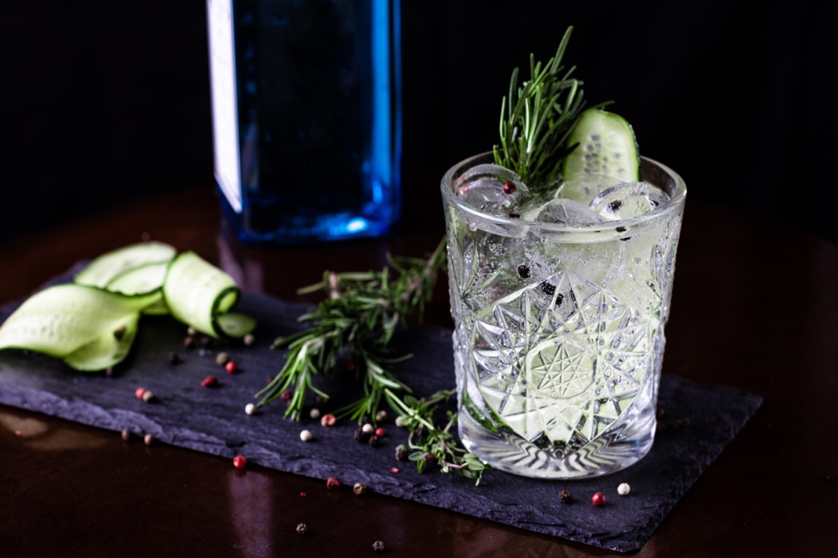 vodka fizz, cocktail with tonic and rosemary