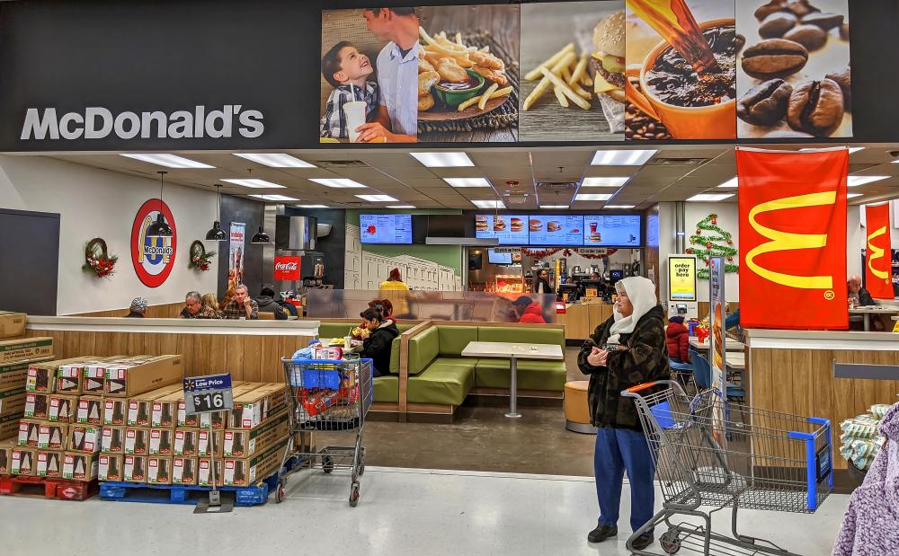 A McDonald's location inside a Walmart SuperCenter