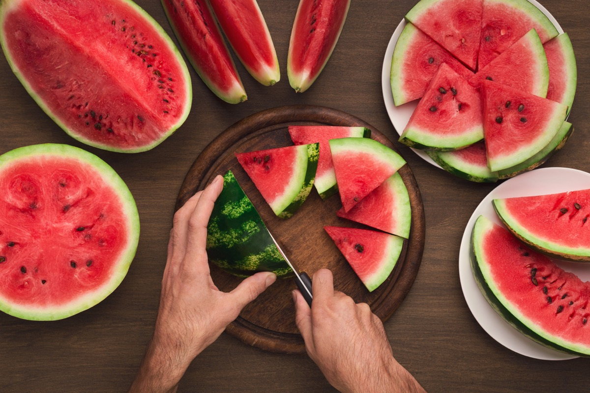 watermelon with black seeds on a table