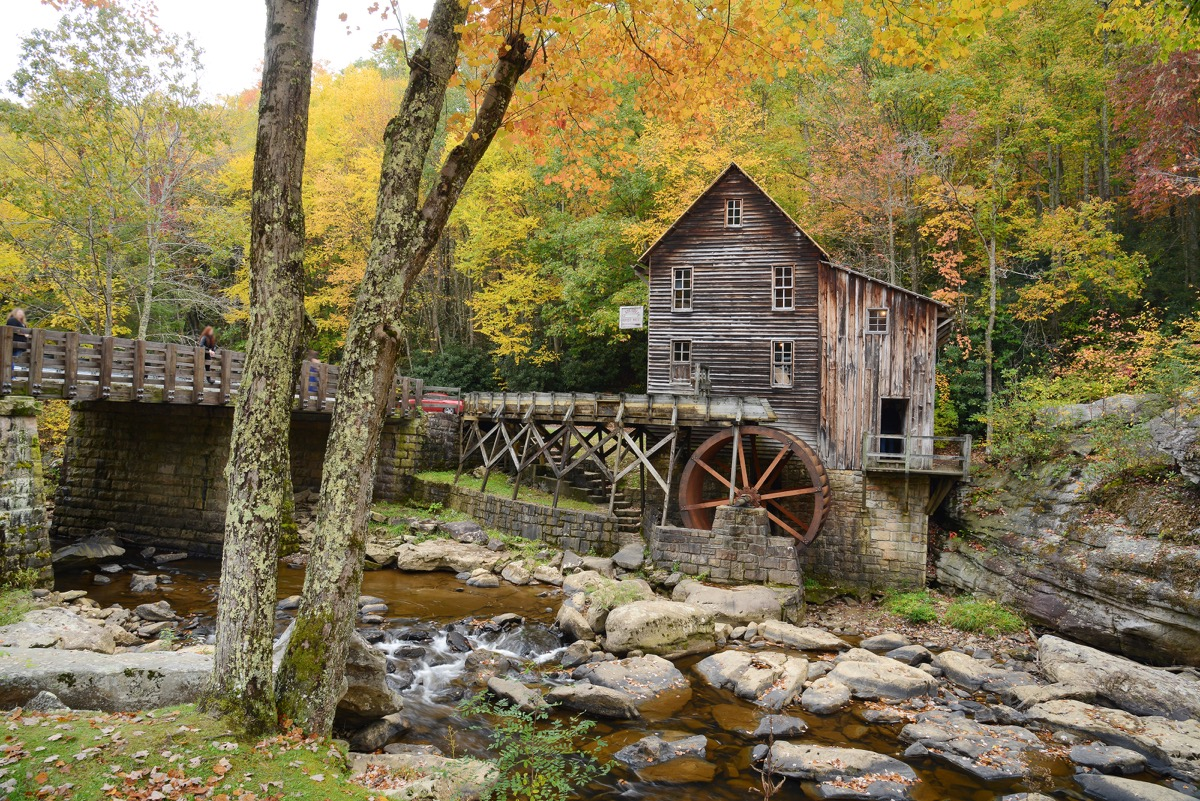 west virginia, grist mill, trees