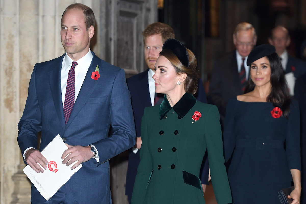 Prince William, Duke of Cambridge, Prince Harry, Duke of Sussex, Catherine, Duchess of Cambridge and Meghan, Duchess of Sussex attend the Centenary Of The Armistice Service at Westminster Abbey on November 11, 2018 in London, England