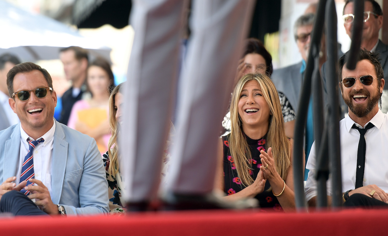 Will Arnett, Jennifer Aniston and Justin Theroux attend The Hollywood Walk of Fame Star Ceremony honoring Jason Bateman on July 26, 2017 in Hollywood, California.