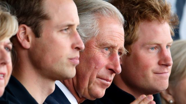 Prince William, Duke of Cambridge, Prince Charles, Prince of Wales, and Prince Harry watch the athletics during the Invictus Games at the Lee Valley Athletics Centre on September 11, 2014 in London, England.
