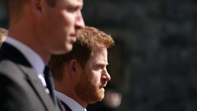 The Duke of Cambridge and Prince Harry walking in the procession at Windsor Castle, Berkshire, during the funeral of the Duke of Edinburgh on April 17, 2021. P
