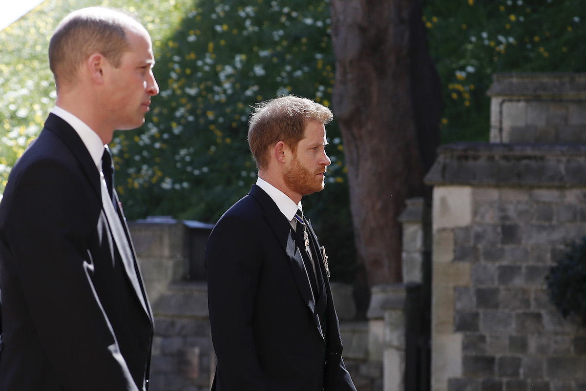 Prince William, Duke of Cambridge and Prince Harry, Duke of Sussex during the Ceremonial Procession during the funeral of Prince Philip, Duke of Edinburgh at Windsor Castle on April 17, 2021 in Windsor, England