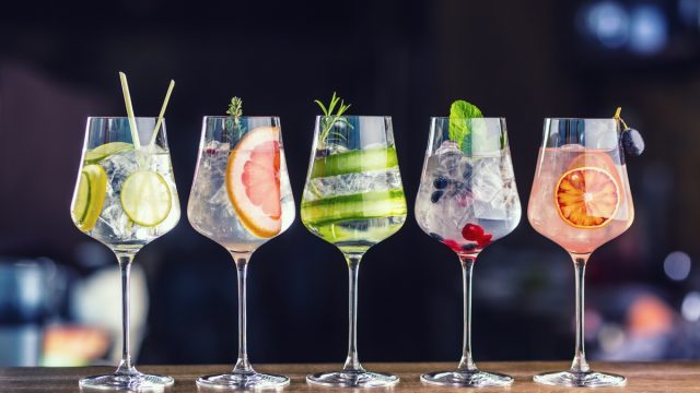 cocktails with a variety of fruits