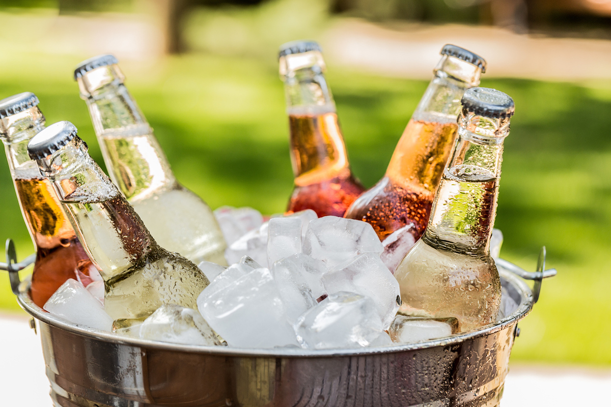 Wine cooler Bottles with Ice in a Bucket