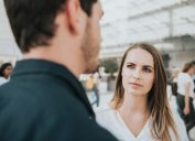 Woman doubting man