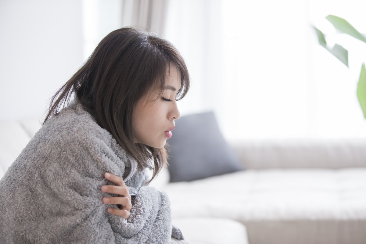 woman sick and feel cold at home