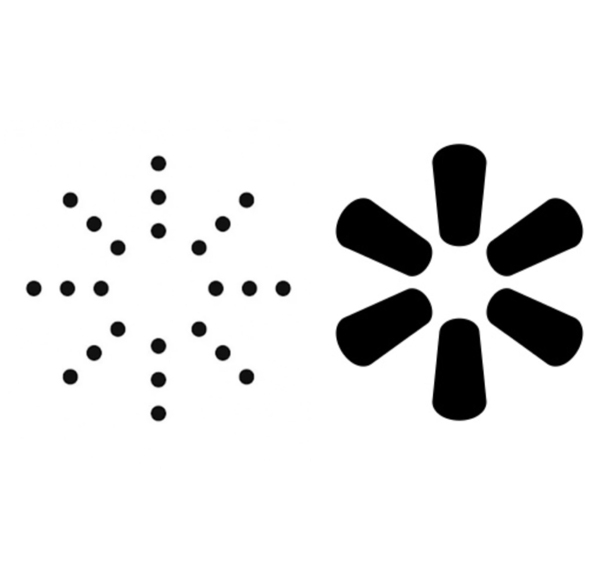 proposed yeezy sunburst dot logo next to black solid walmart sunburst logo